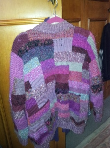 A hand-knitted Kaffe Fasset cardigan