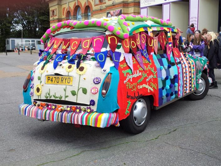 a knitted London taxi