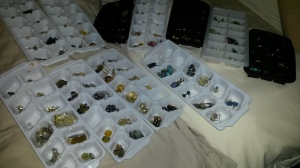 earrings stored in ice cube trays