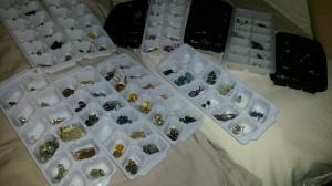 earrings stored in ice cube trays